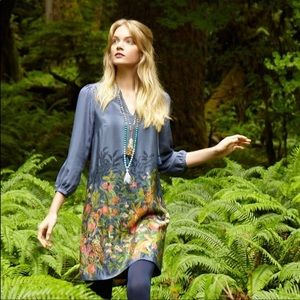 Rare Anthropologie Fabled Fields silk shift dress
